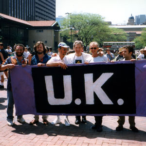 First gay pride parade in Johannesburg.  Antony Sher (who painted the banner), Gregory Doran, Jason, IM, Sean Mathias, ?, Patsy Rodenburg