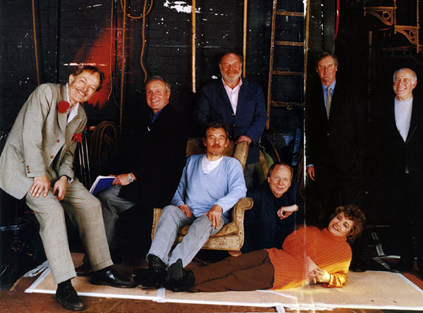 Some of the leading lights of British stage and screen whose careers began in the Cambridge Arts Theatre.  From left: Michael Pennington, Julian Pettifer, Ian McKellen, Timothy West, John Bird, Prunella Scales, John Fortune, Clive Swift