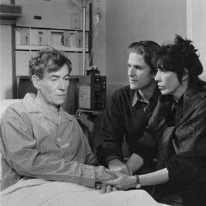 <em>Matthew Modine and Lily Tomlin bedside me in the working hospital where we filmed, with a number of actual AIDS patients in adjacent beds</em>