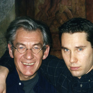Ian McKellen (Magneto), Bryan Singer (Director), Thomas DeSanto (Producer) on the set in Toronto