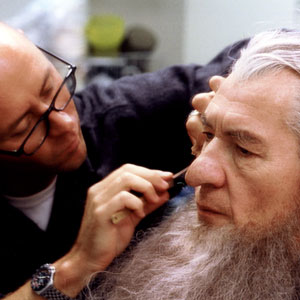 Ian McKellen being made up as Gandalf the Grey by Rick Findlater