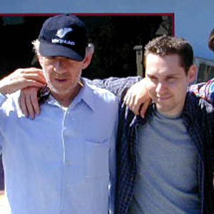 With director Bryan Singer and James Marsden (Cyclops), Universal Studios, April 2000