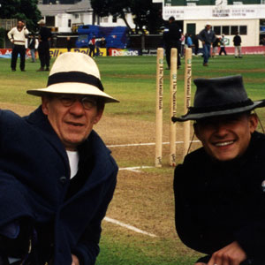 With Orlando Bloom on the cricket field at the Basin Reserve, Wellington, New Zealand