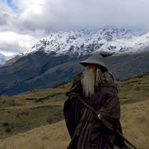 Gandalf crosses the mountains