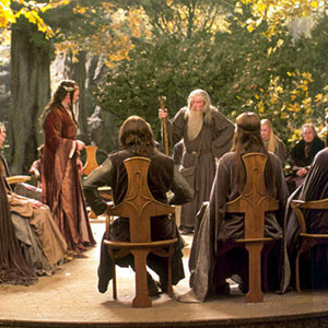 Gandalf addresses the Council of Elrond (Hugo Weaving)