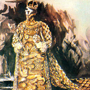 1968, RICHARD II: Timothy Goodchild's costume design for Richard II's heavy ceremonial gown, glittered with gold paint, golden thread and some metallic milk-bottle tops.  - Sketch by Tim Goodchild