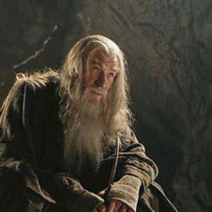 Gandalf (Ian McKellen) and Frodo (Elijah Wood) in the mines of Moria