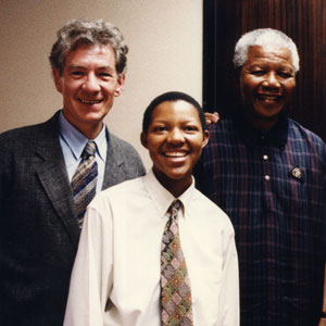 Ian McKellen, Phumzile Mtetwa (General Secretary of ILGA), President Nelson Mandela, and the late gay rights leader Simon Tseko Nkoli at ANC Headquarters in Johannesburg, South Africa