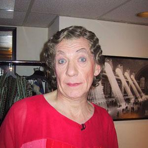 Dressing room, Saturday Night Live, 16 March 2002<br>Ian McKellen is Dame Maggs