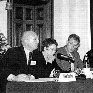 2003,   Making A Difference conference, FFLAG, 11 October 2003, Birmingham UK: (From left) Mike Bradley, Jenny Broughton, Sir Ian McKellen, Councillor Mohammed Afzal, Angela Mason, Michael Cashman