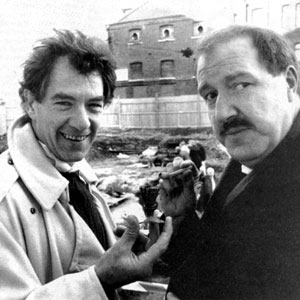 With the actor Gorden Kaye on the uncovered remains of the Rose Theatre, Bankside, London, where Shakespeare first worked.