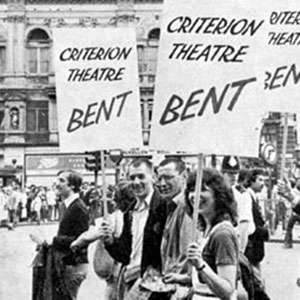 24 July 1979: Cast of Bent (Ian McKellen centre left, next to Tom Bell) march in Piccadilly Circus with representatives of other West End shows against Value Added Tax on theatre tickets. At the end of the march, Ian addressed a rally from the stage of the Royal Opera House.